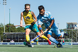 (L-R) Jeremy Hayward of Australia, Manpreet Singh of India during the Champions Trophy finale between the Australia and India on the fields of BH&BC Breda on Juli 1, 2018 in Breda, the Netherlands.