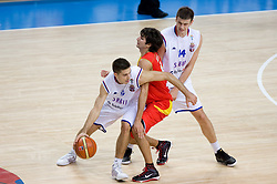 Milenko Tepic of Serbia vs Ricky Rubio of Spain during the basketball match at 1st Round of Eurobasket 2009 in Group C between Spain and Serbia, on September 07, 2009 in Arena Torwar, Warsaw, Poland. (Photo by Vid Ponikvar / Sportida)