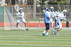 11 April 2015:  Steven Laduzinsky stands guard as the goalie during an NCAA Division III mens lacrosse match between the Elmhurst Bluejays and the Illinois Wesleyan Titans in Bloomington IL