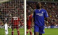 Photo: Paul Thomas.<br /> Liverpool v Chelsea. UEFA Champions League. Semi Final, 2nd Leg. 01/05/2007.<br /> <br /> Didier Drogba of Chelsea shows his dejection after missing  a goal chance.