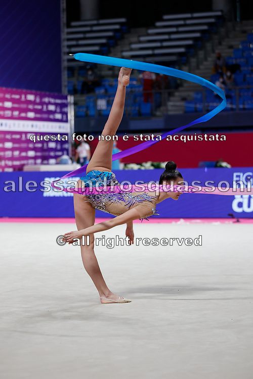 Alina Harnsko during final in Pesaro World Cup at Virtifrigo Arena on may 30, 2021. Alina born on August 9 ,2002 in Minsk. She is a rhythmic gymnast member of the Belarusian National Team.