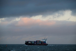 © Licensed to London News Pictures. <br /> 11/01/2017. <br /> Redcar, UK.  <br /> <br /> The container ship, IRIS BOLTEN makes her way into the mouth of the River Tees at South Gare near Redcar as heavy winds affect many parts of the country. <br /> <br /> <br /> <br /> <br /> Photo credit: Ian Forsyth/LNP
