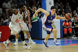 15.04.2015, Palacio de los Deportes stadium, Madrid, ESP, Euroleague Basketball, Real Madrid vs Anadolu Efes Istanbul, Playoffs, im Bild Real Madrid´s Kelvin Rivers and Anadolu Efes´s Cedi Osman // during the Turkish Airlines Euroleague Basketball 1st final match between Real Madrid vand Anadolu Efes Istanbul t the Palacio de los Deportes stadium in Madrid, Spain on 2015/04/15. EXPA Pictures © 2015, PhotoCredit: EXPA/ Alterphotos/ Luis Fernandez<br /> <br /> *****ATTENTION - OUT of ESP, SUI*****
