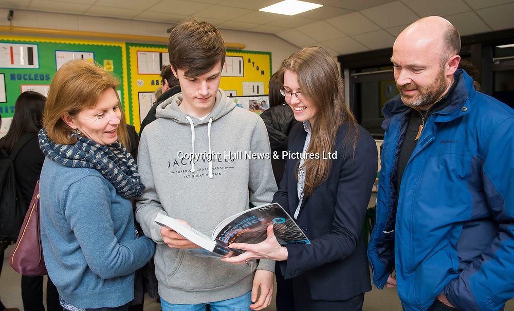 """21 February 2018: Louth Academy Sixth Form Open Evening.<br /> Toby Alexander currently in Year 10 at King Edward V1 Grammar School.<br /> Toby: """"I'm keeping options open. I want to do engineering so looking at doing  Physics at A Levels. I'm quite impressed. The facilities are very good in comparison.""""<br /> Pictured with mum and dad Sarah and Mark. Also pictured is Mrs Rosie Hermiston (centre right) Physics and Chemistry teacher. <br /> Picture: Sean Spencer/Hull News & Pictures Ltd<br /> 01482 210267/07976 433960<br /> www.hullnews.co.uk         sean@hullnews.co.uk"""