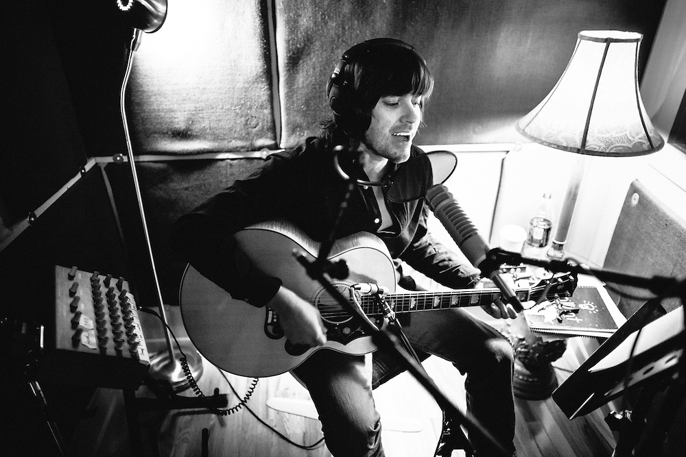 "Rhett Miller recording his album ""The Traveler"" at Jackpot Recording Studio in Portland, OR"