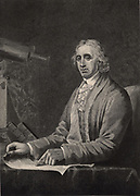 David Rittenhouse (1732-1796), American astronomer and inventor.  He introduced spider's web as cross-hairs in telescopes and measuring instruments.  He discovered the atmosphere of the planet Venus. Engraving 1896.
