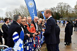 The Duke of Cambridge speaks with supporters during a visit to Leicester City Football ClubÕs King Power Stadium to pay tribute to those who were killed in the helicopter crash last month.