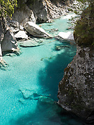 View of the Blue Pools and Makarora River, Southern Alps, Otago, New Zealand