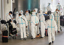 © Licensed to London News Pictures. 19/05/2021. London, UK. Heathrow Airport travellers wearing protective clothing and PPE arrive at the airport in West London as around five million British tourists have booked holidays as restrictions ease. Photo credit: Marcin Nowak/LNP