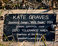 """Kate Graves bronze, concrete, and steel Art instalation. Greenwood Avenue - """"White People"""" 2004 ZERO TOLERANCE AREA. Late autumn monthly Sunday walk in the park. Hobler Park, Montgomery Township, New Jersey. Image taken with a Nikon 1 V3 camera and 70-300 mm VR lens."""
