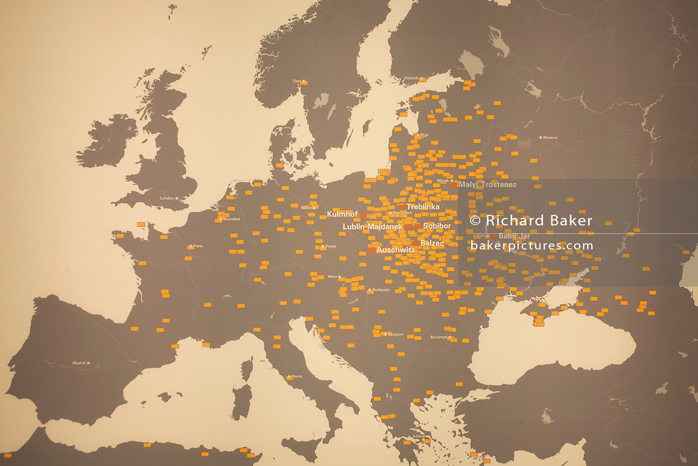 An exhibition panel in the Holocaust museum and memorial, showing only some of the 500 Nazi concentration and labour camps, ghettos and the sites of mass shootings across Europe and Africa during the second world war.