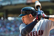Cleveland Indians shortstop Asdrubal Cabrera prepares on-deck during a game against the Minnesota Twins at Target Field in Minneapolis, Minnesota on July 29, 2012.  The Twins defeated the Indians 5 to 1.  © 2012 Ben Krause