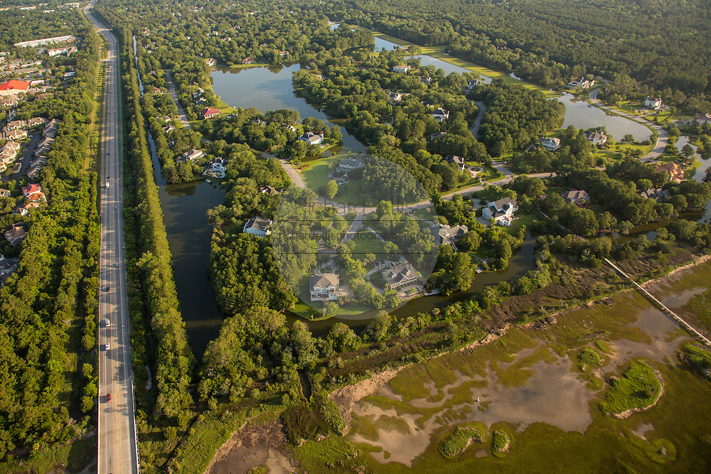 Aerial view of the Ravens Run residential development along the marsh in Mt Pleasant, SC