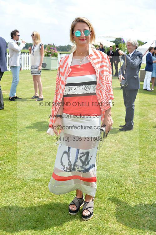 Zoe Jordan at Cartier Queen's Cup Polo, Guard's Polo Club, Berkshire, England. 18 June 2017.<br /> Photo by Dominic O'Neill/SilverHub 0203 174 1069 sales@silverhubmedia.com
