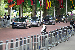 © Licensed to London News Pictures. 03/06/2019. London, UK. US President Donald Trump and First Lady Melania Trump head for Westminster Abbey inside the presidential limousine known at The Beast along Horse Guards Road cleared of people in central London during his State Visit to the United Kingdom. During his three days in the UK he will meet with members of the Royal family and outgoing Prime Minister Theresa May before attending 75th Anniversary of D-Day commemorations in Portsmouth and France. Photo credit: Peter Macdiarmid/LNP