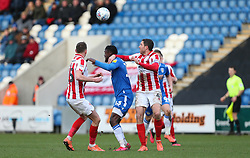 Theo Robinson of Colchester United is crowded out by Cheltenham Town defenders - Mandatory by-line: Arron Gent/JMP - 29/02/2020 - FOOTBALL - JobServe Community Stadium - Colchester, England - Colchester United v Cheltenham Town - Sky Bet League Two