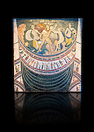 4th Century AD Roman Opus Sectile Mosaic depicting nymphs from the basilica de Giunio Basso .  Museo Nazionale Romano ( National Roman Museum), Rome, Italy. Against a black background. .<br /> <br /> If you prefer to buy from our ALAMY PHOTO LIBRARY  Collection visit : https://www.alamy.com/portfolio/paul-williams-funkystock/national-roman-museum-rome-mosaic.html <br /> <br /> Visit our ROMAN ART & HISTORIC SITES PHOTO COLLECTIONS for more photos to download or buy as wall art prints https://funkystock.photoshelter.com/gallery-collection/The-Romans-Art-Artefacts-Antiquities-Historic-Sites-Pictures-Images/C0000r2uLJJo9_s0