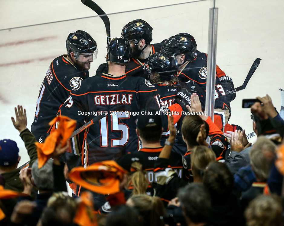 Anaheim Ducks 5-3 defeats Nashville Predators during the Game 2 of the Western Conference final in the NHL hockey Stanley Cup playoffs, Sunday, May 14, 2017, in Anaheim, California.<br /> (Photo by Ringo Chiu/PHOTOFORMULA.com)<br /> <br /> Usage Notes: This content is intended for editorial use only. For other uses, additional clearances may be required.