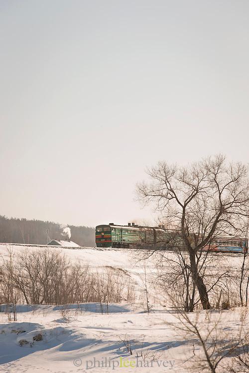 Komsomolsk-na-Amure railway. Forming part of the BAM (Baikal-Amur Mainline) Railway Line. Siberia, Russia