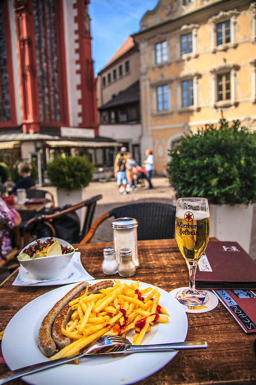 A wurst meal in Würzburg, Germany. In Germany, you are never far away from wurst, of which there are more than 1000 varieties.
