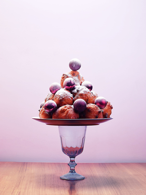 Christmas card with deep fried doughnut balls on a plate Christmas card with deep fried doughnut balls on a plate