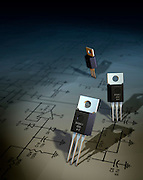 A 3D illustration of three transistors standing on a schematic diagram of a circuit on paper.