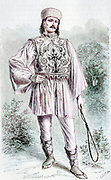 Machine colorized with Artificial Intelligence (AI) Male Wallachian in traditional clothes, from Wallachia, Romania. wallachian peasant man male embroidered vest hat riding whip stand full length posed outdoor. Engraving on wood From The human race by Figuier, Louis, (1819-1894) Publication in 1872 Publisher: New York, Appleton