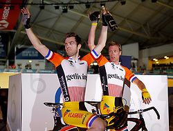 Yoeri Havik (left) and Wim Stroetinga celebrate winning the Men's Team Elimination during day one of the Six Day Series Manchester at the HSBC UK National Cycling Centre.