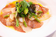 scallops and tuna carpaccio with wild asparagus salad dom a voge cornas rhone france