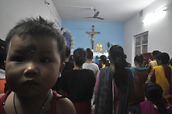 September 5, 2017 - Agartala, Tripura, India - Sisters and children of the orphanage are for evening prayer on the occasion of Mother Teresa's death anniversary on Nirmala Sishu Bhavan at Agartala. (Credit Image: © Abhisek Saha/Pacific Press via ZUMA Wire)