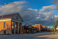 Looking east on Second Street in late afternoon in Whitefish, Montana, USA