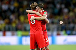 England's Harry Kane (left) and John Stones celebrate after winning the FIFA World Cup 2018, round of 16 match at the Spartak Stadium, Moscow.