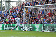 Jordan Ayew of Swansea city scores his teams 2nd goal. <br /> Premier League match, Crystal Palace v Swansea city at Selhurst Park in London on Saturday 26th August 2017.<br /> pic by Kieran Clarke, Andrew Orchard sports photography.