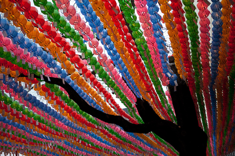 """Für die Feierlichkeiten von Buddhas Geburtstag (2. Mai 2009) werden Tempel mit bunten Lampions dekoriert. Aus den Laternen hängen Papierstreifen mit Wünschen. Fast jeder Besucher kauft sich einen Wunschzettel, der dann mit Namen und Wunsch beschriftet an einem Lampion befestigt werden.<br /> <br /> In Korea the birthday of Buddha (2nd of May 2009) is celebrated according to the Lunisolar calendar. This day is called """"Seokga tansinil"""", meaning """"the day of Buddha's birthday"""". Lotus lanterns cover the entire temples throughout the month. Visitors can buy a paper, write a wish to that paper and fix it with their name to a lantern."""