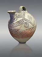 Cycladic askos with hatched painted decoration.  Cycladic III (2300-2000 BC) , Phylakopi, Melos. National Archaeological Museum Athens. Cat no 5826.   Grey background.<br /> <br /> <br /> Decorated pottery is rare during this Ccladic period. This Cycladic askos has vertical handle on top with a spout. It has painted decoration of hatched bands and a lozenge pattern .<br /> <br /> If you prefer to buy from our ALAMY PHOTO LIBRARY  Collection visit : https://www.alamy.com/portfolio/paul-williams-funkystock/cycladic-art-artefacts.html Type into the LOWER SEARCH WITHIN GALLERY box to refine search by adding background colour, place, museum etc<br /> <br /> Visit our CYCLADIC CIVILISATIONS PHOTO COLLECTIONS for more photos to download or buy as wall art prints https://funkystock.photoshelter.com/gallery-collection/Cycladic-civilisation-Ancient-Greek-Artefacts-art-Photos-Pictures-Images/C0000CmevVvnC.XU