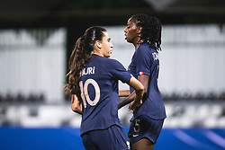 Amel Majri of France and Aissatou Tounkara of France celebrating first goal for france during football match between Slovenia and France in 2nd round of Women's world cup 2023 Qualifying round on 21 of September, 2021 in Mestni stadion Fazanerija, Murska Sobota, Slovenia. Photo by Blaž Weindorfer / Sportida