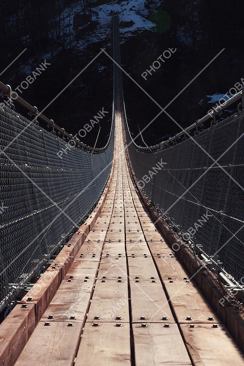 Suspension bridge over the valley