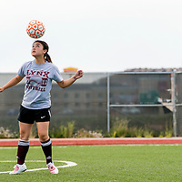 081513       Cable Hoover<br /> <br /> Rehoboth Lynx Tyra West practices her headers during varsity soccer practice at Rehoboth High School Thursday.