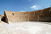 Caesarea, Israel, The amphitheater, on the city's southern shorea. town built by Herod the Great about 25 - 13 BC,