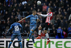 (L-R) Jamiro Monteiro Alvarenga of Heracles Almelo, Kristoffer Peterson of Heracles Almelo, Luuk de Jong of PSV during the Dutch Eredivisie match between PSV Eindhoven and Heracles Almelo at the Phillips stadium on October 22, 2017 in Eindhoven, The Netherlands