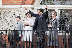 EXCLUSIVE: Hugh Grant toasts Dom Perignon champagne as he plays MP Jeremy Thorpe, for the first day of filming 'A Very English Scandal' in Central London. The BBC drama is Hugh's first TV acting gig since the 1990's and has already been acquired by Amazon for the US rights. Also pictured is Monica Dolan who plays Thorpe's second wife Marion Stein, and Patricia Hodge. 03 Oct 2017 Pictured: Hugh Grant. Photo credit: MEGA TheMegaAgency.com +1 888 505 6342
