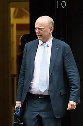Downing Street, London, May 10th 2016. Leader of the House of Commons Chris Grayling leaves the weekly cabinet meeting in Downing Street.