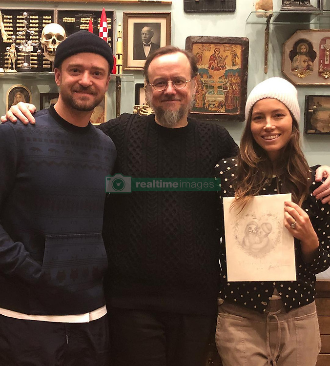 """Justin Timberlake releases a photo on Instagram with the following caption: """"Dear @markryden \u2014 We were so honored to be invited over and hang with you and see your beautiful house and studio. AND... You sketched US?!?! I've always imagined myself as a character from your world... now, I get to be one!!! \ud83d\ude4c\ud83d\ude4c\ud83d\ude4c"""". Photo Credit: Instagram *** No USA Distribution *** For Editorial Use Only *** Not to be Published in Books or Photo Books ***  Please note: Fees charged by the agency are for the agency's services only, and do not, nor are they intended to, convey to the user any ownership of Copyright or License in the material. The agency does not claim any ownership including but not limited to Copyright or License in the attached material. By publishing this material you expressly agree to indemnify and to hold the agency and its directors, shareholders and employees harmless from any loss, claims, damages, demands, expenses (including legal fees), or any causes of action or allegation against the agency arising out of or connected in any way with publication of the material."""