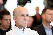 CARY, NC - FEBRUARY 28: North Carolina Courage (NWSL) head coach Paul Riley. The United States Men's National Team held a press conference on February 28, 2018 at Sahlen's Stadium at WakeMed Soccer Park in Cary, NC to preview an international friendly they will be playing in the stadium on March 27th.