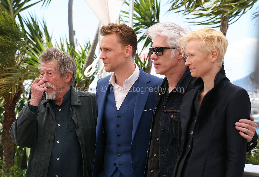 Actors John Hurt, Tom Hiddleston, Director Jim Jarmusch and Actress Tilda Swinton.at Only Lovers Left Alive Photocall Cannes Film Festival On Saturday 26th May May 2013