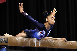 March 2, 2019 - Greensboro, North Carolina, US - CELIA SERBER from France practices on the balance beam before the competition held at the Greensboro Coliseum in Greensboro, North Carolina. (Credit Image: © Amy Sanderson/ZUMA Wire)