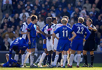 Photo: Glyn Thomas.<br />West Bromwich Albion v Chelsea. The Barclays Premiership. 04/03/2006.<br />Tempers flare following a tackle on Chelsea's Claude Makelele (bottom L).