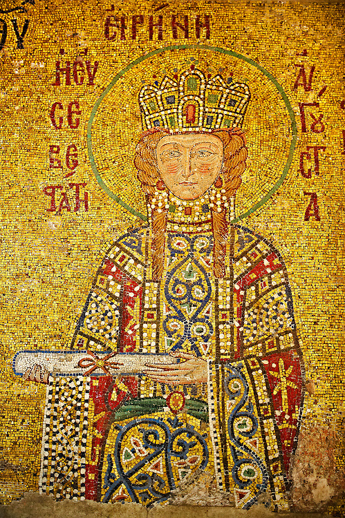 12th Century Byzantine mosaic of  Empress Irene  (Eirene) making an offering as symbolised by the scroll. Hagia Sophia, Istanbul, Turkey .<br /> <br /> If you prefer to buy from our ALAMY PHOTO LIBRARY  Collection visit : https://www.alamy.com/portfolio/paul-williams-funkystock/istanbul.html<br /> <br /> Visit our TURKEY PHOTO COLLECTIONS for more photos to download or buy as wall art prints https://funkystock.photoshelter.com/gallery-collection/3f-Pictures-of-Turkey-Turkey-Photos-Images-Fotos/C0000U.hJWkZxAbg