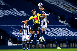 Charlie Austin of West Bromwich Albion challenges Lloyd Kerry of Harrogate Town - Mandatory by-line: Robbie Stephenson/JMP - 16/09/2020 - FOOTBALL - The Hawthorns - West Bromwich, England - West Bromwich Albion v Harrogate Town - Carabao Cup