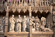 16th century flamboyant gothic Choir screen and ambulatory of the Cathedral of Chartres, France. A UNESCO World Heritage Site. .<br /> <br /> Visit our MEDIEVAL ART PHOTO COLLECTIONS for more   photos  to download or buy as prints https://funkystock.photoshelter.com/gallery-collection/Medieval-Middle-Ages-Art-Artefacts-Antiquities-Pictures-Images-of/C0000YpKXiAHnG2k